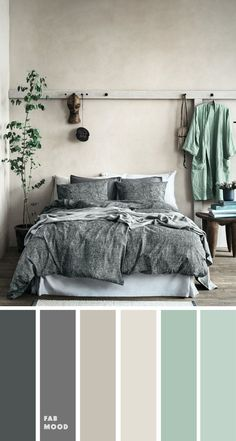 mint and grey bedroom color scheme bedroom color ideas color colorpalette mintgrey grey bedroom bedroom color scheme Green Bedroom Colors, Grey Colour Scheme Bedroom, Mint Color Room, Grey Bedroom Design, Mint Bedroom Walls, Calming Bedroom Colors, Sage Green Bedroom, Modern Grey Bedroom, Bedroom Decor