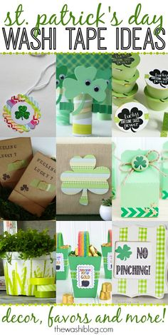 St. Patrick's Day Washi Tape Ideas - perfect last-minute crafts, favors and decor!