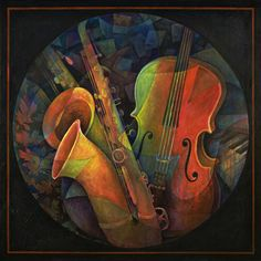 Musical Mandala - Features Cello and Saxs Painting  - Musical Mandala -  Artist Susanne Clark