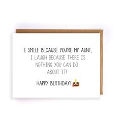 Funny Happy Birthday Card For Aunt Blank Greeting Cards Cute Handmade
