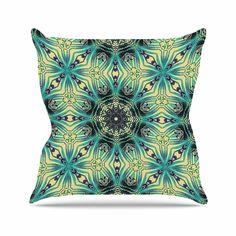 KESS InHouse AC1122AOP03 18 x 18-Inch 'Alison Coxon Paradise 2 Teal Yellow' Outdoor Throw Cushion - Multi-Colour