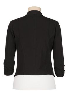 black 3/4 cinched sleeve open front blazer - maurices.com
