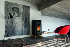 The Soffio natural convection silent wood pellet stove is designed to heat small or large spaces up to comes standard with touch remote control. Wood, Nordic, House, Home Decor, Stove, Space Up, Italian Design, Fireplace, Pellet Stove