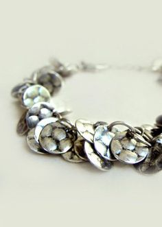 Amelia Bracelet with Hammered Silver Circle Charms