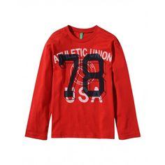 T-shirt manica lunga, in jersey di cotone con stampa frontale, girocollo a costina.3U1LC1134 RED