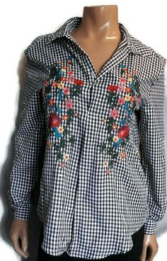 Another Story Check Gingham Popover Top Womens XS Floral Embroidered Oversized Blue Gingham, Gingham Check, Crochet Shirt, Embroidered Tunic, Blouses For Women, Floral, Ebay, Clothes, Link