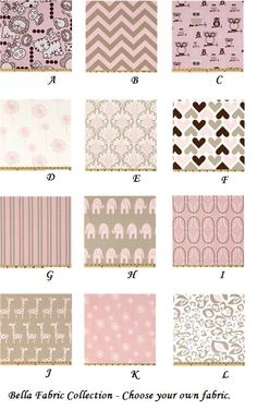 pink and gray fabric choices for bedding