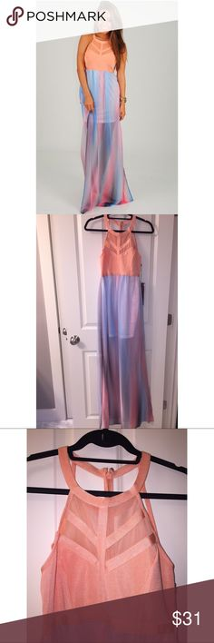 Multi-colored maxi dress Peach colored top with mesh, blue/purple/pink sheer bottom with white liner underneath. Slits on both sides, cut out back with zipper. Sold by Hope's, never worn. WOW couture Dresses Maxi