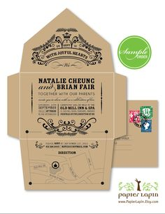 Open Me Softly - eco-friendly invitation, self-mailer, kraft paper, quirky & whimscial - SAMPLE