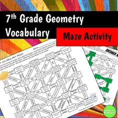 This maze contains vocabulary for seventh grade geometry.  Have your students help Marvin the mouse find his cheese by choosing the correct term for each definition.  Engage your students in vocabulary practice with this fun activity!