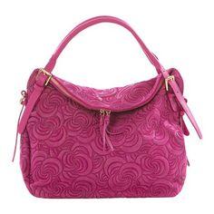 Lucca Baldi Leather Swirl Handbag, Fuchsia