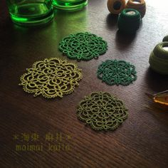' Lucky Clover ' #tatting #lace #motif #original #orignaldesign #green #luckyclover #タティングレース #モチーフ #オリジナルデザイン #ラッキークローバー #四ツ葉ノクローバー