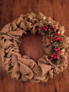 burlap wreath with decorations