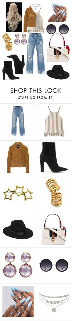 """goes to the festival"" by marianadya ❤ liked on Polyvore featuring 3x1, Miguelina, Madewell, Gianvito Rossi, Tiffany & Co., Pamela Love, Lack of Color, Gucci and Alice + Olivia"