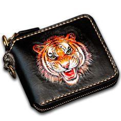 ef0be1ff20dc5 Handmade Leather Tiger Tooled Mens Short Wallet Cool Clutch Wristlet Bag  Chain Wallet Biker Wallet for Men