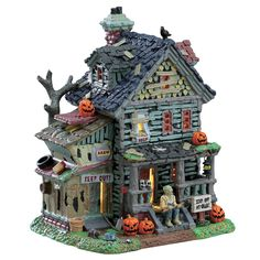 Lemax Creepy Neighborhood House. SKU# 75185. Released in 2017 as a Lighted Building for the Lemax Spooky Town Village Collection.
