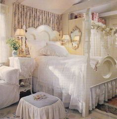 Love this bed decor and that stool!