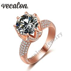 Cheap Rings, Buy Directly from China Suppliers:Vecalon Yellow gold Crown wedding ring for women Round 3ct Simulated diamond Cz 925 Sterling Silver Female Engagement Ba