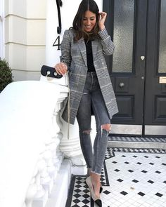 plaid blazer + black tee + gray denim + pumps.