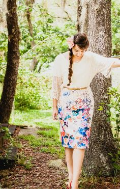 Floral skirt styled