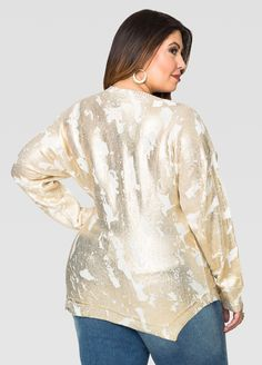 Foil Finish Dolman Sweater - Ashley Stewart
