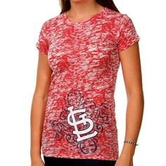 St. Louis Cardinals Women's Scroll Burnout Premium Crew T-shirt - Red