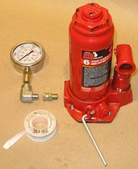 Pressure Gauge, Hydraulic Fittings, and Teflon Tape, Ready To Be Installed on Bottle Jack