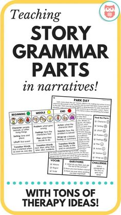 Great printable speech therapy activities for language to increase comprehension through story grammar. Great for middle school! From Speechy Musings Speech Therapy Activities, Language Activities, Listening Activities, Grammar Activities, Vocabulary Games, Physical Activities, Speech Language Pathology, Speech And Language, Sign Language