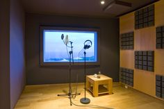 Vocal Booth at Black Rock Residential Recording Studios featuring a wide variety of Microphones from AKG, Neumann, Sennheiser and Shure.