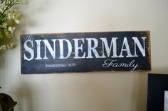 Custom family sign! Gift idea ! Hey, I found this really awesome Etsy listing at https://www.etsy.com/listing/186982250/personalized-family-name-family-name