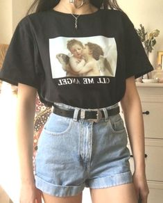 CALL ME ANGEL OVERSIZED TEE 👼🏼 🖤👼🏼🖤 - vintage summer outfits outfits vintage shorts vintage dress vintage fashion vintage outfits summer beach dress summer beach wear summer dress flowers - Vintage Outfits -Summer Vintage Dresses 2019 Retro Outfits, Mode Outfits, Cute Casual Outfits, Girl Outfits, Fashion Outfits, Womens Fashion, Spring Outfits, Outfits With T Shirts, Holiday Outfits