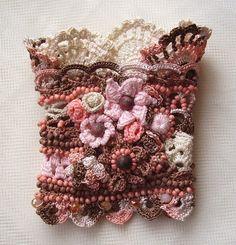 Crochet cuff Crochet bracelet Pink bracelet by KSZCrochetTreasures