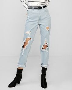 With Your Part Slouchy Part Slinky Fit High Waist And Lived In Distressed Look Youre The Perfect Companion For A Day Of Shopping Or Checking Out Some