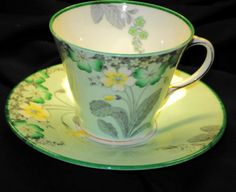 AYNSLEY-ART-DECO-Minty-GREEN-FLORAL-GOLD-TEA-CUP-AND-SAUCER