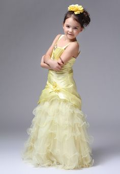 Spaghetti Straps Organza Tiered Yellow Flower Girl Dress