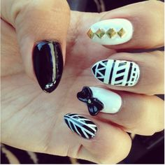 Black and white nail design  http://miascollection.com