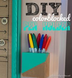 DIY Home Project | Storage and Organization | Tired of looking for missing pens, pencils, markers, and chalk? Build this simple color block pen holder with a couple pieces of scrap wood.