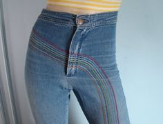 "Remember these? ""Rainbow jeans"" There was a shirt that matched! All the cool kids were wearing them!"
