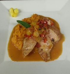 Seared Pork Medalion with a Pineapple Stone Fly Chutney Served with Mashed Sweet Potatoes.
