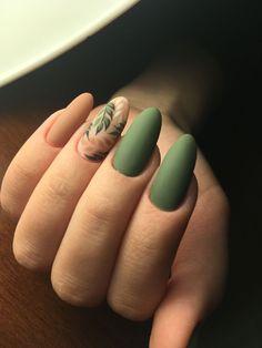 43 Fantastic Green Nail Art Designs Ideas to Upgrade Your Look Ідеї манікюру Cute Acrylic Nails, Matte Nails, Fun Nails, Pretty Nails, Acrylic Nails For Fall, Matte Green Nails, Red Nail, Stiletto Nails, Winter Nail Art
