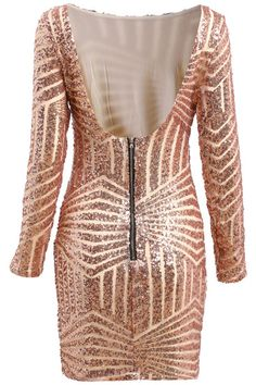 Gold Long Sleeve Backless Sequined Dress