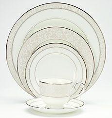 Montvale Platinum formal bone china, dinnerware by Noritake China Clear Coffee Mugs, Fine China Patterns, Happy Kitchen, Plates And Bowls, Noritake, Dinnerware Sets, Place Settings, Table Linens, Bone China
