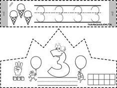 Printable Cut-out Birthday Crown Coloring Page Numbers Kindergarten, Numbers Preschool, Kindergarten Worksheets, Teaching Math, Math Activities, Toddler Activities, Preschool Activities, Science Writing, Math Sheets
