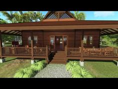 Tropical House Designs - Teak Bali - Rain Forest Retreat - Walk-through in HI Res Tropical House Design, Tropical Houses, Exterior Design, Interior And Exterior, Prefab Modular Homes, Jungle House, Wood Shingles, Roof Structure, Common Area