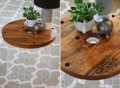 DIY accent table with wiry metallic base - Decoist Small Accent Tables, Small Tables, Diy Projects Cans, Home Projects, Diy Table, Easy Diy, Interior Design, Tables Basses, Starters