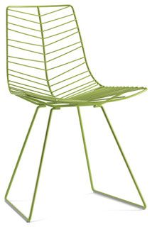 arper Leaf Dining Chair - modern dining chairs | sled base, made in painted or chromed steel rod.  The chair is available in chrome or painted in the following colors: white, green and mocha