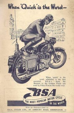 Decorating With Coat Racks And Vintage Clothing - Popular Vintage Bsa Motorcycle, Motorcycle Posters, Motorcycle Garage, Vintage Advertisements, Vintage Ads, Vintage Posters, British Motorcycles, Vintage Motorcycles, Bsa Bantam