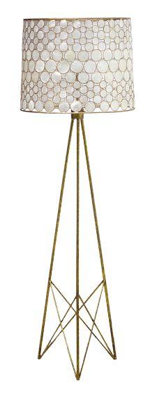 Serena Floor Lamp - Antiqued Gold Base & Frame w/Capiz Shell Shade