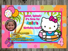 Shop for on Etsy, the place to express your creativity through the buying and selling of handmade and vintage goods. 4th Birthday Parties, Birthday Bash, Birthday Cakes, Birthday Ideas, Pool Party Themes, Party Ideas, Hello Kitty Invitations, Ice Cream Theme, Hello Kitty Birthday