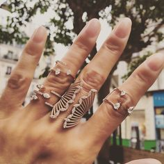Today's Look in Paris 🇫🇷 Perfect Mix from Djula Jewelry, Dimond Ring, Urban Jewelry, Rings Cool, Bvlgari, Ring Designs, That Look, Silver Rings, Jewels